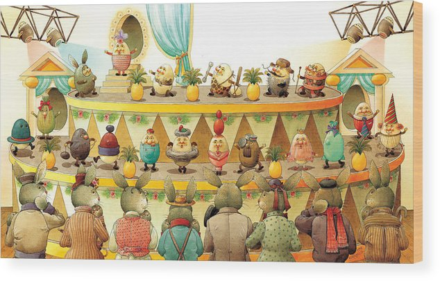 Egs Easter Wood Print featuring the painting Eggs Fashion by Kestutis Kasparavicius