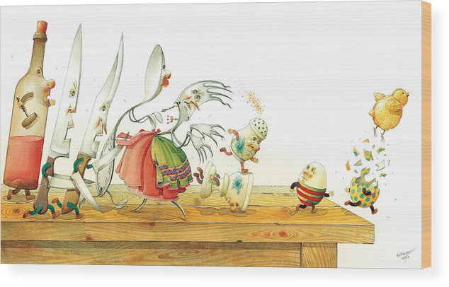 Eggs Easter Liberty Wood Print featuring the painting Eggs Liberty by Kestutis Kasparavicius