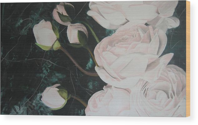 Roses Wood Print featuring the painting Englische Rosen by Eckhard Besuden