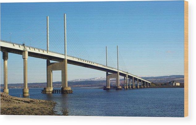 Kessock Bridge Inverness Scotland Highlands Dornoch Firth River Architecture Wood Print featuring the photograph Kessock Bridge Inverness 2 by Iain MacVinish