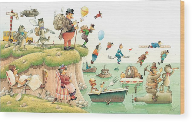 Food Travel See Landscape Journey Wood Print featuring the painting Lazinessland02 by Kestutis Kasparavicius