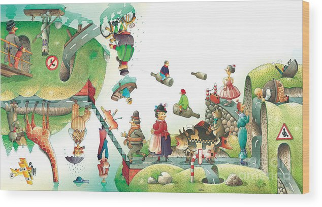 Travel Lanscape Green Wood Print featuring the painting Lazinessland06 by Kestutis Kasparavicius