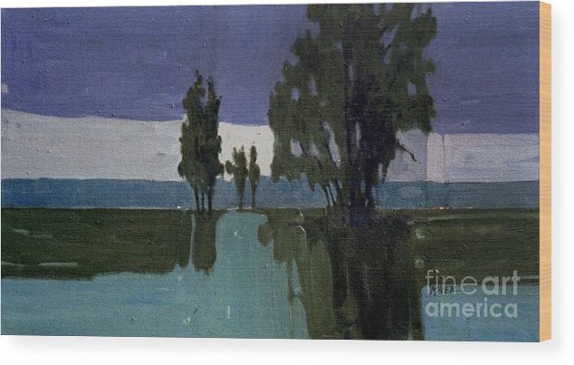 Nocturne Wood Print featuring the painting Lights On The Horizon by Donald Maier