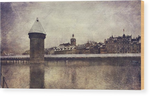 Cityscape Wood Print featuring the photograph Lucerna, Kapellbrucke by Vittorio Chiampan