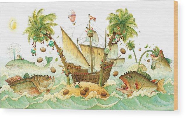 Eggs Easter Marine Wood Print featuring the painting Marine Eggs by Kestutis Kasparavicius