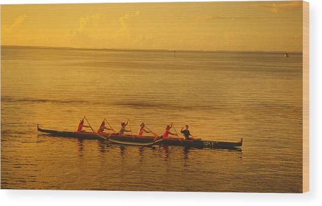 Boat Wood Print featuring the photograph Outrigger In Tahiti by Carl Purcell