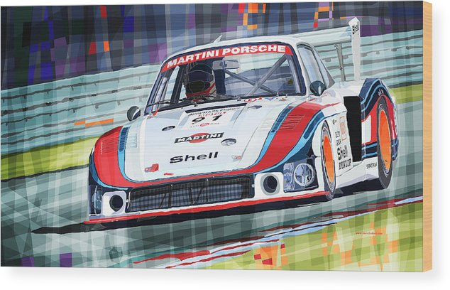 Automotive Wood Print featuring the digital art Porsche 935 Coupe Moby Dick Martini Racing Team by Yuriy Shevchuk