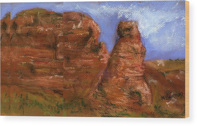 Desert Wood Print featuring the painting Red Rocks by Marilyn Barton