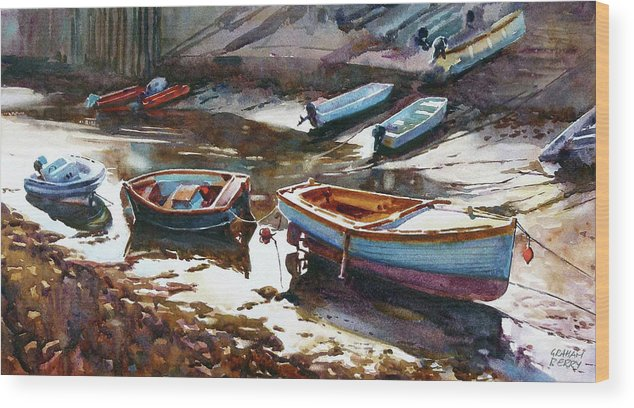 Boats Wood Print featuring the painting Salcombe Boatyard by Graham Berry