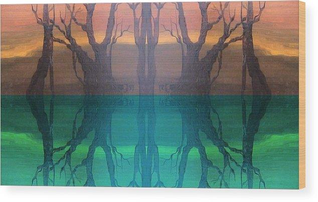 Evening Wood Print featuring the digital art Spiegelungen by Amrei Al-Tobaishi-Jarosch