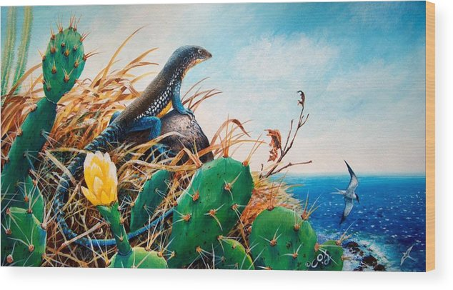 Chris Cox Wood Print featuring the painting St. Lucia Whiptail by Christopher Cox