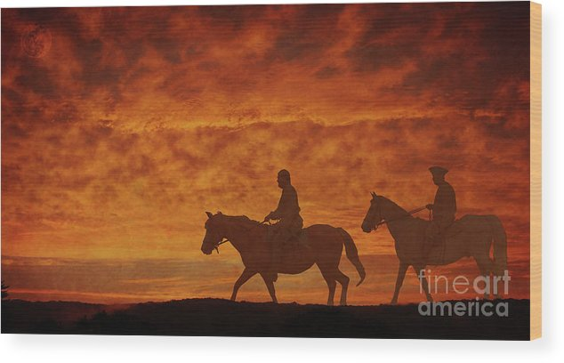 The Horsemen Sunset Ride Wood Print featuring the digital art The Horsemen Sunset Ride by Randy Steele