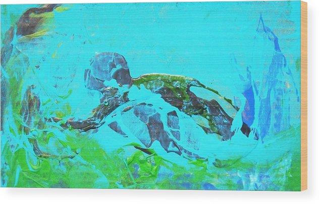 Swimmer Underwater Wood Print featuring the painting The Swimmer by Bruce Combs - REACH BEYOND