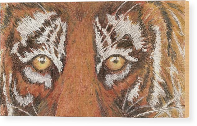 Tiger Wood Print featuring the painting Tiger Eyes 2 by Patricia R Moore