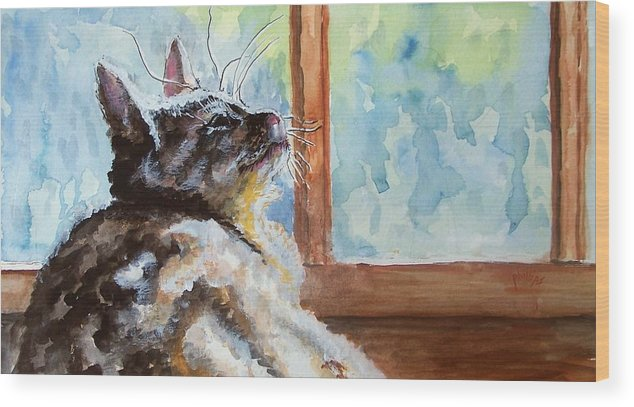 Cat Wood Print featuring the painting Watching The Rain by Jim Phillips