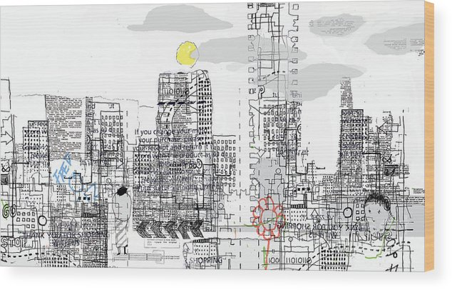 Line Wood Print featuring the digital art White City by Andy Mercer