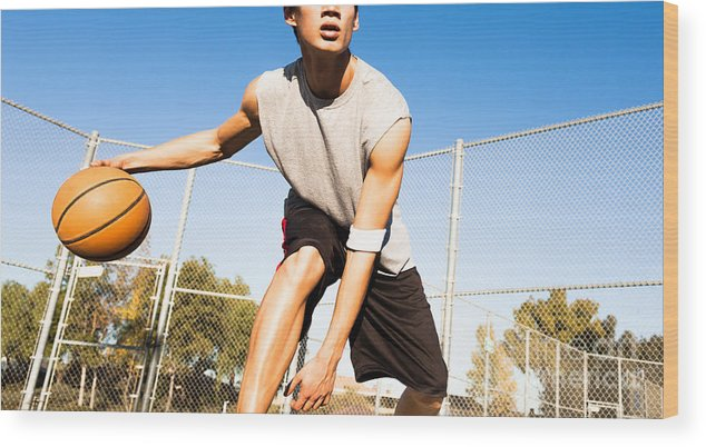 College Wood Print featuring the photograph Fit Male Playing Basketball Outdoor by Pkpix