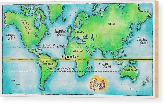 Map Of The World & Equator Wood Print