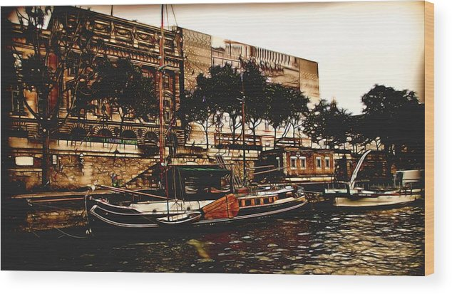 Paris Wood Print featuring the photograph Boats On The Seine by Bill Howard