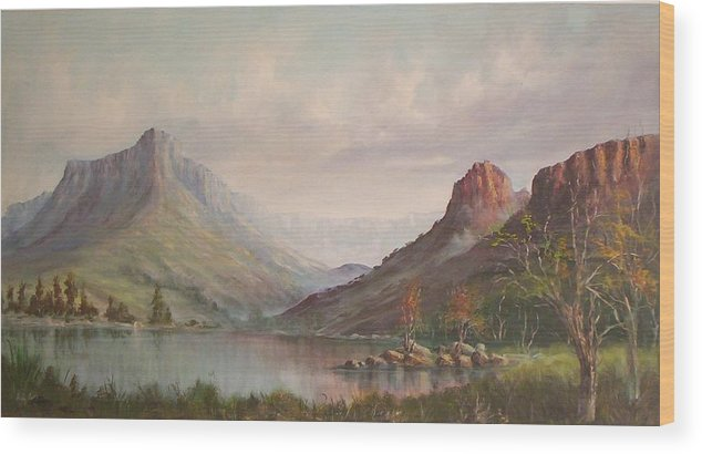 Mountains Wood Print featuring the painting By The Riverside by Rita Palm