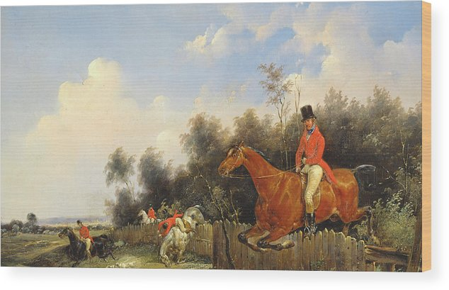 Scene De Chasse; Hunter; Hunters; Huntsman; Hunt; Riding; Horse; Rider; Outfit; Jumping; Fence; Landscape Wood Print featuring the painting Hunting Scene by Bernard Edouard Swebach