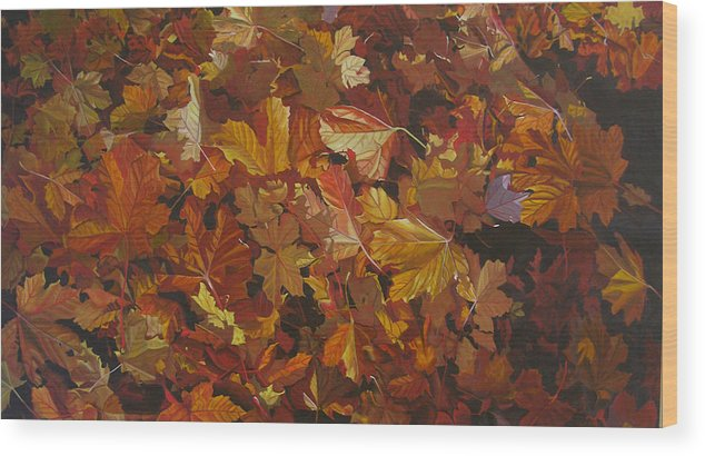 Fall Wood Print featuring the painting Last Fall In Monroe by Thu Nguyen