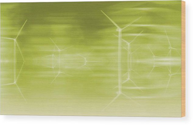 Wind Turbines Wood Print featuring the photograph Lime Turbines by Sharon Lisa Clarke