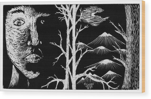 Trees Wood Print featuring the drawing Moonlight by Howard Pacheco