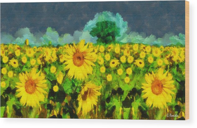 Rossidis Wood Print featuring the painting Sunflowers by George Rossidis