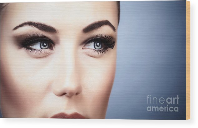 Adult Wood Print featuring the photograph Woman With Stylish Makeup by Anna Om