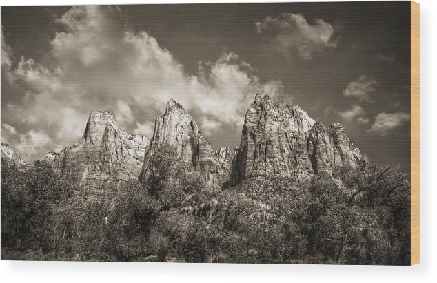 Sepia Wood Print featuring the photograph Zion Court Of The Patriarchs In Sepia by Tammy Wetzel