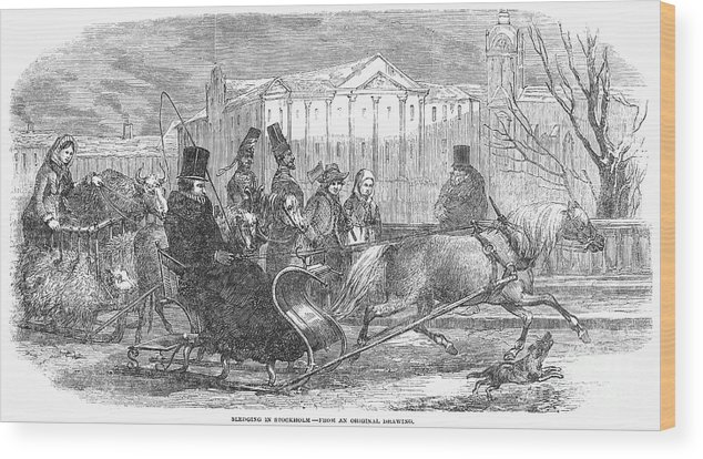 1850 Wood Print featuring the photograph Stockholm: Sleighing, 1850 by Granger