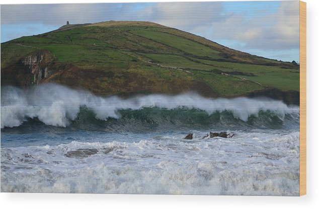 Ireland Wood Print featuring the photograph Waves In Beenbane by Barbara Walsh