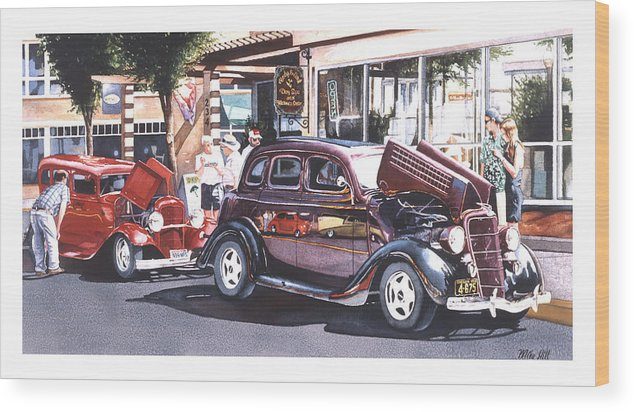1935 Ford 1932 Car Automobile Jocks Show Cruise In Maroon Red Street Rod Hot Duece Wood Print featuring the painting Bodies And Souls by Mike Hill