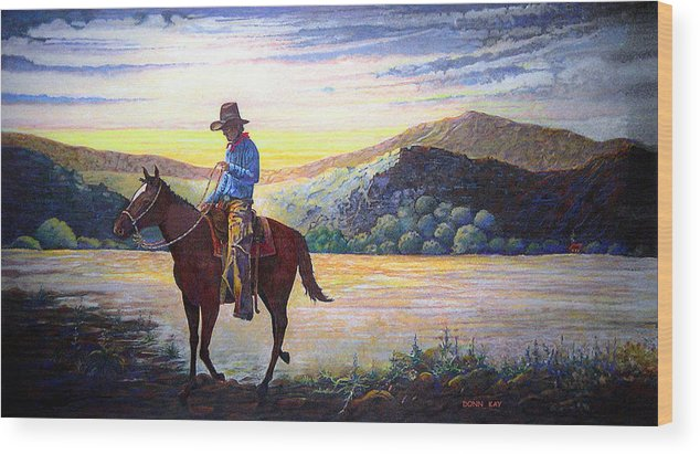Western Art Cowboys Wood Print featuring the painting By The Dawns Early Light by Donn Kay