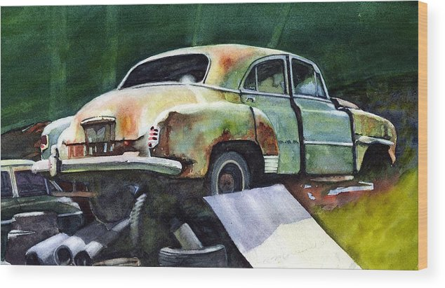 Chev Wood Print featuring the painting Chev At Rest by Ron Morrison