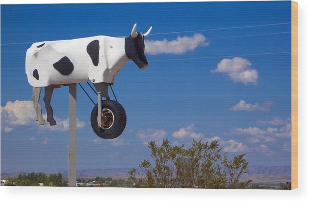Cow Wood Print featuring the photograph Cow Power by Skip Hunt