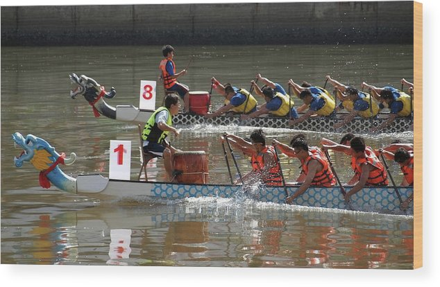 Boat Wood Print featuring the photograph Dragon Boat Races On The Love River In Taiwan by Yali Shi