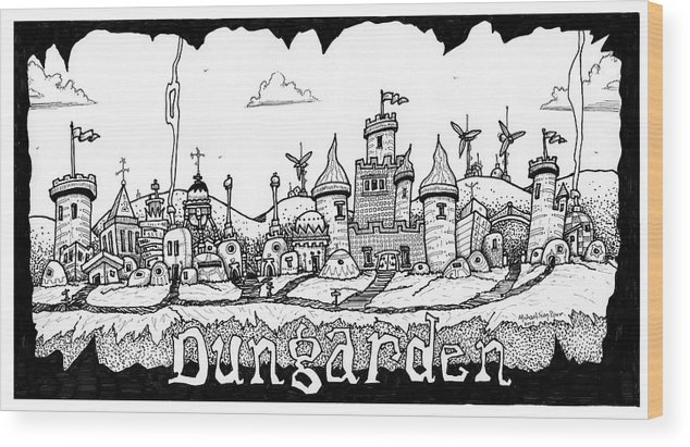 Fantasy Wood Print featuring the drawing Dungraden by Michael Sean Piper