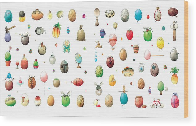 Eggs Easter Wood Print featuring the painting Eastereggs by Kestutis Kasparavicius