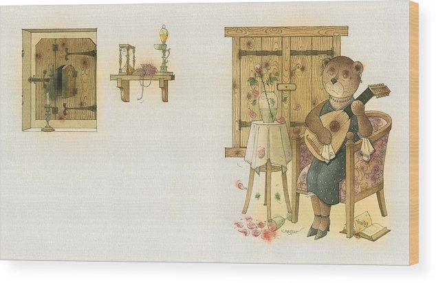 Bears Melancholy Magic Glamour Brown Love Music Wood Print featuring the painting Florentius The Gardener19 by Kestutis Kasparavicius