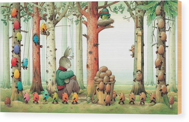 Eggs Easter Forest Wood Print featuring the painting Forest Eggs by Kestutis Kasparavicius