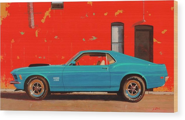 Muscle Car Wood Print featuring the painting Grabber Blue Boss by Greg Clibon