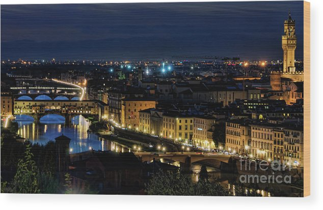 Florence Wood Print featuring the photograph Lights Of Florence by Nancy Morgantini