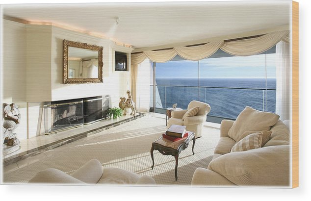 Living Room Architectural Photography Wood Print featuring the photograph Living Room by Panos Trivoulides