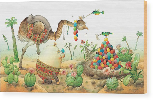 Eggs Easter Birds Wood Print featuring the painting Minieggs And Maxiegg by Kestutis Kasparavicius