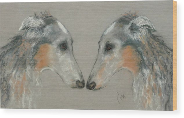 Dog Wood Print featuring the drawing Nose To Nose by Cori Solomon