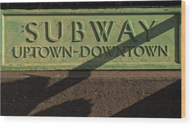 Signage Wood Print featuring the photograph Nyc Subway Stop by Robert Ullmann