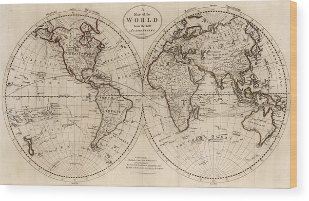 Old fashioned world map 1795 wood print by cartographyassociates old fashioned world map wood print featuring the drawing old fashioned world map 1795 by gumiabroncs Images