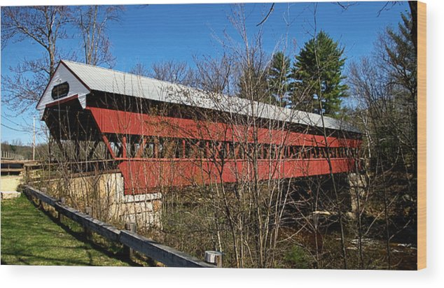 Swift River Bridge Wood Print featuring the photograph Swift River Covered Bridge by BuffaloWorks Photography